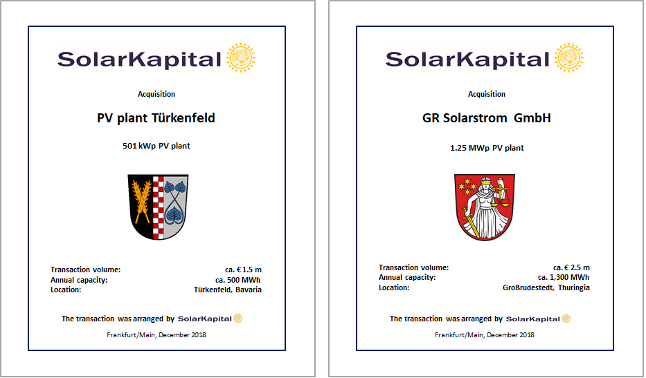 19.12.2018 - SolarKapital acquires further pv plants in Germany